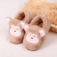 冬季儿童棉拖鞋卡通室内防滑保暖宝宝包跟男童女童可爱居家拖鞋 浅咖 包跟