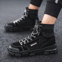 男鞋冬季潮鞋2018新款韩版潮流百搭嘻哈保暖加绒加厚学生高帮棉鞋