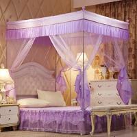 床上用品白色欧美风坐床式蚊帐方顶拉链1.5米不锈钢支架1.8m公主