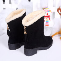 2018新款冬季加厚平底防滑保暖雪地靴女毛毛中筒短靴雪地棉鞋靴子