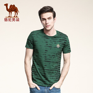 骆驼男装 新款夏款圆领短袖T恤衫 青年条纹修身日常休闲欧美