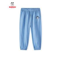 【抢购价:29元】巴布豆童装2021夏季新款男童简约舒适轻薄百搭透气牛仔防蚊裤