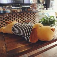 趴趴狗毛绒玩具娃娃大号狗狗睡觉抱枕头公仔可爱儿童生日礼物女孩 棕色狗狗 蓝色衣服 1.2米(送60厘米颜色随机)