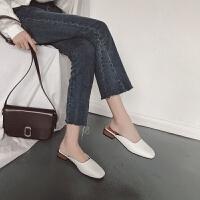 2019春季新款韩版粗跟低跟外穿包头半拖女方头圆点女鞋子休闲拖鞋