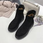 马丁靴女2018新款英伦风厚底网红短靴女平底短筒学生冬季保暖棉靴 黑色
