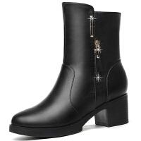 春季短靴女秋季 2019新款皮靴时尚高跟粗跟女鞋欧美女靴加绒棉鞋 黑色