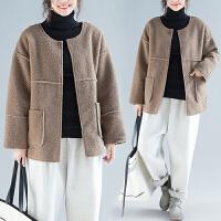 大码女装外套微胖妹妹洋气减龄宽松文艺拼接羊羔毛冬季新款女