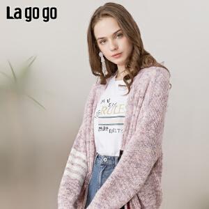 【2.20-2.26每满100减50】Lagogo/拉谷谷2019春季新款撞色条纹长袖针织衫女IAMM86ZG83