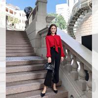 卡贝琳女2019新款很仙的红色上衣洋气雪纺衬衫秋韩版长袖衬衣女设计感小众