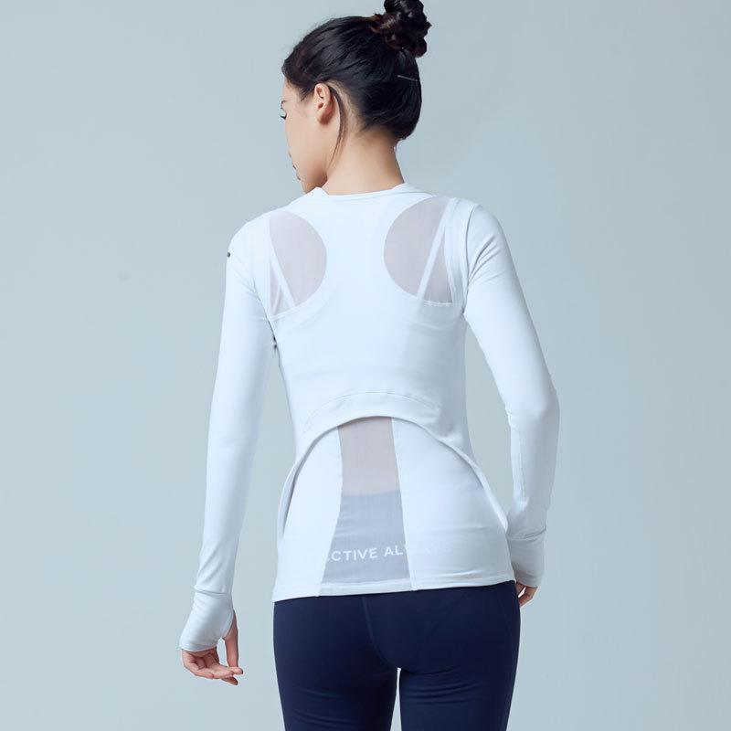 韩版性感瑜伽服上衣女 拼接网纱长袖健身房运动跑步速干衣套指T恤