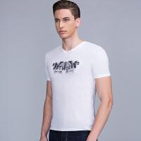 【3折价:121.8】七匹狼短袖圆领T恤衫中青年男士夏款美式休闲短T