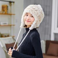 帽子女冬天兔毛针织帽加厚保暖加绒韩版日系潮百搭护耳毛线帽冷帽