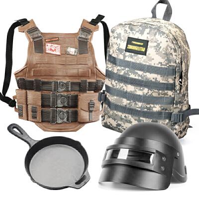 98k三级头盔儿童吃鸡装备套装信号抢3级包男孩背包玩具周边三级甲 ++三级包+平底锅 均码 儿童玩具