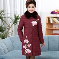 冬装妈妈装棉衣中长款中年人棉袄绣花外套中老年女装大码羽绒