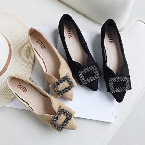 ZHR2019春季新款韩版晚晚鞋平底浅口单鞋仙女尖头休闲鞋复古女鞋