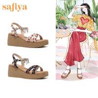 【券后价:219元】SAFIYA2020夏季花朵后空凉鞋女一字式扣带凉鞋SF02115002
