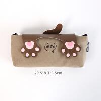可爱猫太极铅笔袋 韩国学生文具袋简约拉链帆布笔袋女