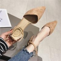2019春季新款韩版尖头中空搭扣凉鞋包头单鞋低跟一字扣百搭女鞋子