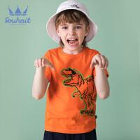【3件3折:50元】souhait水孩儿童装夏季新款圆领衫儿童T恤短袖T恤短袖圆领衫SHNXBD08CT580