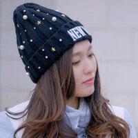 女士时尚潮流休闲时尚水钻珍珠针织刺绣毛线帽尖尖帽子