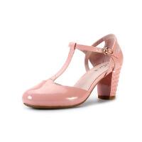 【秋冬新款 限时1折起】爱旅儿凉鞋女学院风高跟女鞋EM61507