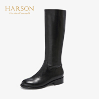 哈森2019新款长靴女过膝圆头方根显瘦牛皮革长靴粗跟长靴HA95816