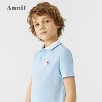 【2件4折价:67.6】安奈儿童装男童POLO衫翻领短袖2021夏新款韩版时髦运动风男孩T恤
