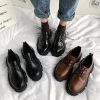 韩版百搭女士增高厚底单鞋 学院风复古黑色皮鞋女 新款ins潮小皮鞋女英伦