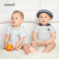 【2件4折价:79.6】安奈儿童装男童女童夏季连体衣A类纯棉爬行服2021新款婴幼儿服装