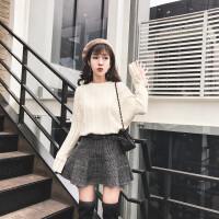 2018秋冬新款小香风套装女韩版网红俏皮小个子毛衣短裙两件套 米白色毛衣+黑色半身裙