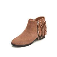 哈森旗下爱旅儿欧美复古女鞋休闲纯色流苏低跟方跟短靴EA68218