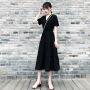 黑色连衣裙2020夏季新款短袖v领中长款复古裙收腰显瘦气质长裙