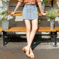 诗凡黎牛仔裤短裤女夏装2021新款宽松百搭高腰显瘦直筒假两件裙裤