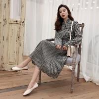 春装新款韩版时尚复古格子长袖雪纺连衣裙女洋气蝴蝶结中长裙