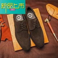 新品上市雕花磨砂皮商务正装尖头系带皮鞋欧版英伦反绒皮透气单鞋型师鞋