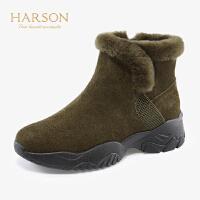 哈森2019冬季新款加绒平跟厚底雪地靴女 拉链休闲运动短靴HA99107