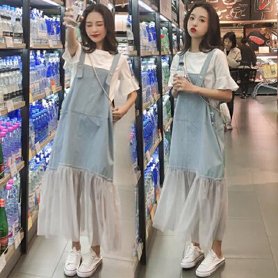夏装连衣裙宽松时尚牛仔背带裙子夏天中长款两件套装