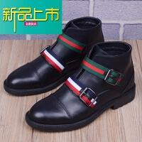 新品上市马丁靴男韩版潮流尖头短靴休闲鞋男靴子高帮皮鞋男士英伦风工装鞋