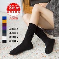 长袜子女潮韩版学院风中筒袜韩版日系堆堆袜秋冬加厚高筒袜小腿袜