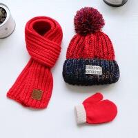 秋冬儿童帽子围巾手套宝宝加绒加厚保暖帽子男童女童针织帽三件套