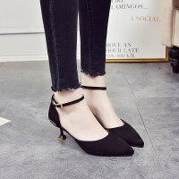 高跟鞋黑新款春季单鞋女尖头绒面细跟浅口中跟工作猫跟鞋婚鞋 黑色镶钻 34