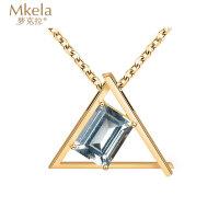 梦克拉 18k金海蓝宝石吊坠项链 彩宝18k金套链女款 可调节 简约镂空三角形