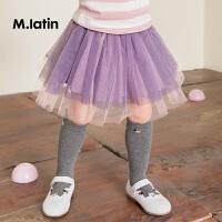 【3件2.5折】马拉丁童装女小童腰裙秋装新款印花甜美纱裙百搭短裙半身裙