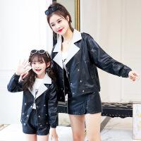 2019新款亲子装外套母女装时尚洋气秋冬款双排扣大码上衣新款潮 黑色外套