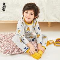 【2件3折价:56.7】迪士尼童装儿童弹力棉长袖上衣长裤家居服两件套宝宝男童内衣套装