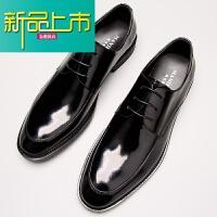 新品上市新款男士休闲皮鞋男漆皮英伦潮流系带单鞋商务正装真皮男鞋婚鞋潮