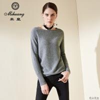 秋冬新款圆领套头羊绒衫女韩版宽松纯羊绒纯色毛衣针织打底衫