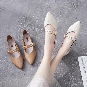 ZHR2019春季新款韩版粗跟玛丽珍鞋尖头奶奶鞋浅口单鞋百搭女鞋子