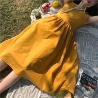 新款连衣裙 夏装新款绑带吊带裙高腰抹胸一字领中长款a字韩版连衣裙