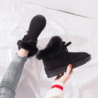网红雪地靴女2019保暖女鞋棉鞋加厚加绒学生短筒短靴 黑色